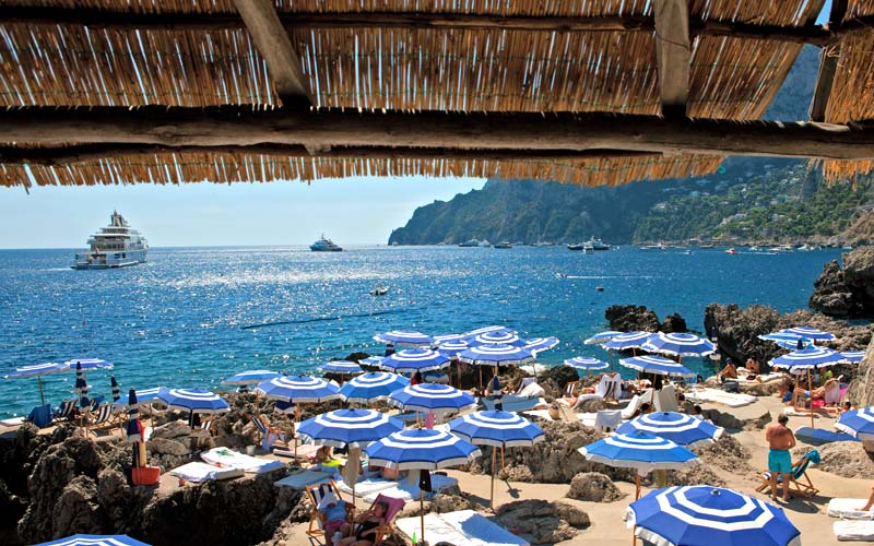 Fontelina Beach Club Beach Opposite The Faraglioni Of